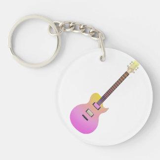 elektrische gitaar roze gele gradient.png 2-Zijden ronde acryl sleutelhanger