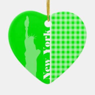 Elektrische Groene Gingang; New York Keramisch Hart Ornament