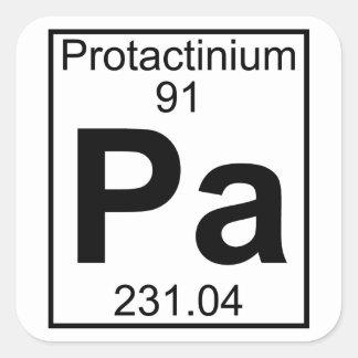 Element 091 - Pa - (Volledige) Protactinium Vierkante Sticker