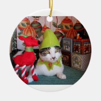 elf kat rond keramisch ornament