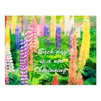 Elke Dag is een Nieuwe Kleurrijke Bloem Lupine van Briefkaart