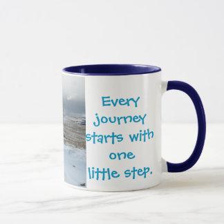 Elke reis begint .............. mok