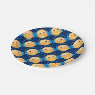 Emoji met Hoofdtelefoons Papieren Bordje