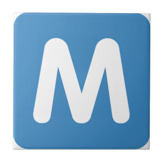 Emoji Twitter - Letter M Tegeltje Vierkant Small