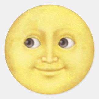 Emojisticker van de maan ronde sticker
