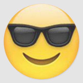 Emojisticker van de zonnebril ronde sticker