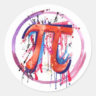 Emotioneel Pi, het Schilderen van de Actie Art. Ronde Sticker