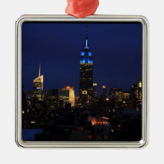 Empire State Building allen in Blauw, Horizon NYC Zilverkleurig Vierkant Ornament