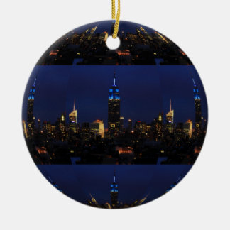 Empire State Building allen in Blauw, NYC Horizon Rond Keramisch Ornament