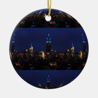 Empire State Building allen in Blauw, NYC Horizon Rond Keramisch Ornament