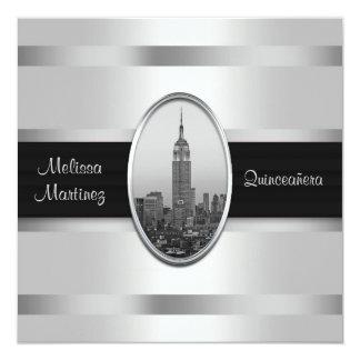 Empire State Building Witte Zilveren Quinceanera Kaart