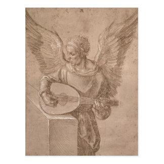 Engel die een luit, 1491 spelen briefkaart