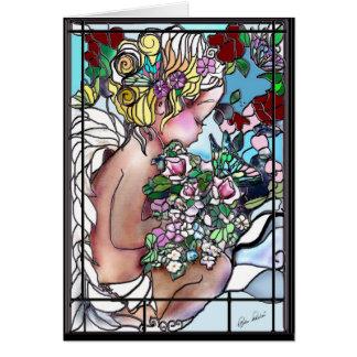 Engel in de Kaart van het Gebrandschilderd glas