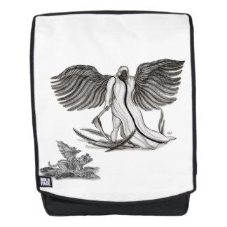 Engel Uriel met Golem, Zwart-wit ontwerp Rugtassen