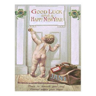 Engel Vier van de Cherubijn van het Nieuwjaar van Briefkaart