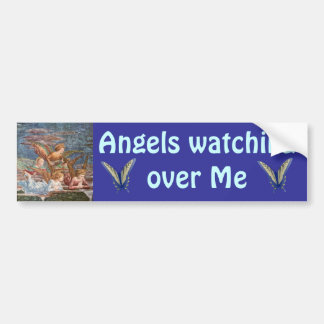Engelen die over me bumper op sticker letten