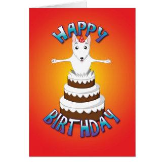 Engels bull terrier - cake - gelukkige verjaardag wenskaart