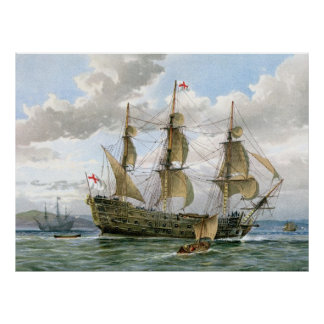 Engels Slagschip over 1650 Poster