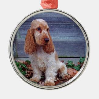 Engelse Cocker-spaniël Zilverkleurig Rond Ornament