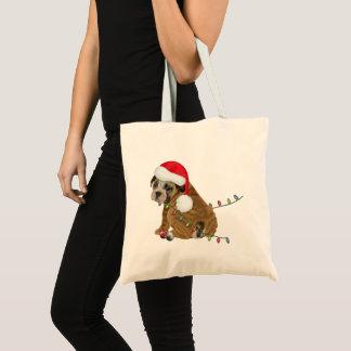 Engelse Kerstmis van het Puppy van de Buldog Draagtas