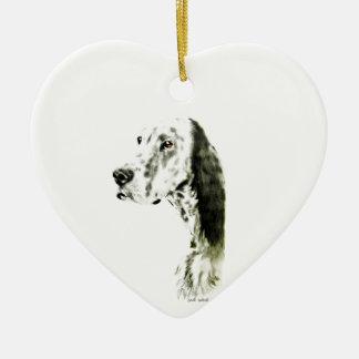 Engelse Zetter Keramisch Hart Ornament