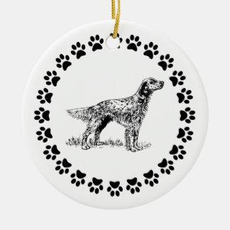 Engelse Zetter met Pawprints Rond Keramisch Ornament