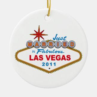 Enkel Gehuwd in Fabelachtig Las Vegas 2011 Rond Keramisch Ornament