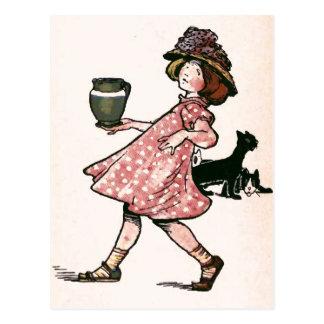 """""""Er zijn velen een misstap….Vintage Illustratie Briefkaart"""