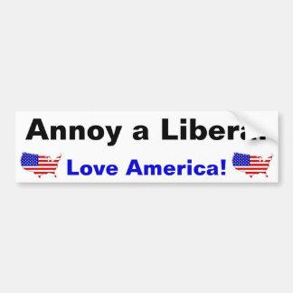 Erger Liberaal - houd van Amerika! Bumpersticker