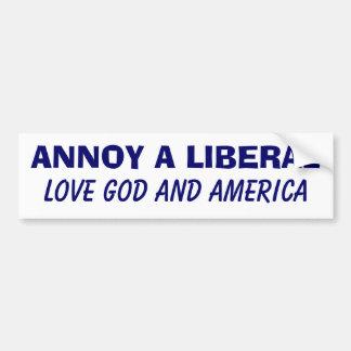 Erger Liberaal - houd van God en Amerika Bumpersticker