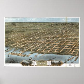 Erie Pennsylvania 1870 Antiek Panoramische Kaart Poster