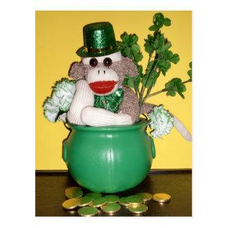 Ernie het St. Patrick van de Aap van de Sok Briefkaart