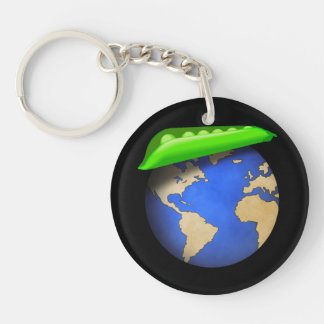 Erwten ter wereld - Vrede op de Vakantie van de 1-Zijde Rond Acryl Sleutelhanger