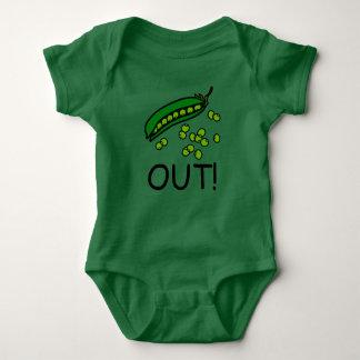 Erwten uit! T-shirt de uit één stuk van het Baby
