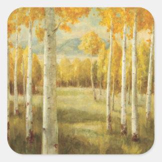 Espen in de Herfst Vierkante Sticker