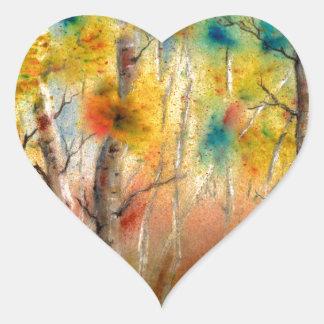 Espen in Herfst Hartvormige Stickers