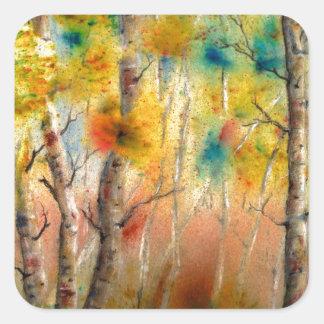 Espen in Herfst Vierkante Stickers