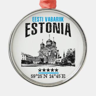 Estland Zilverkleurig Rond Ornament