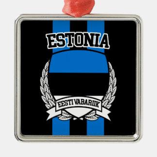 Estland Zilverkleurig Vierkant Ornament