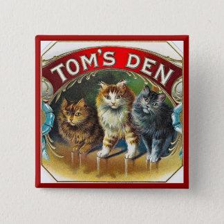 Etiket van de Sigaar van het Hol van Toms het Vierkante Button 5,1 Cm