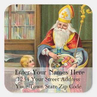 Etiket van het Adres van Sinterklaas het Vintage