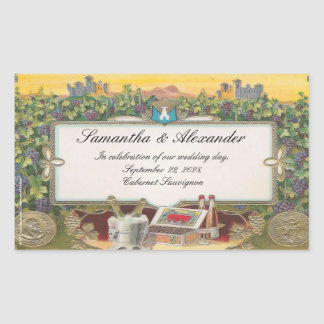 Etiketten van de Fles van de Wijn van de wijngaard Rechthoekige Sticker