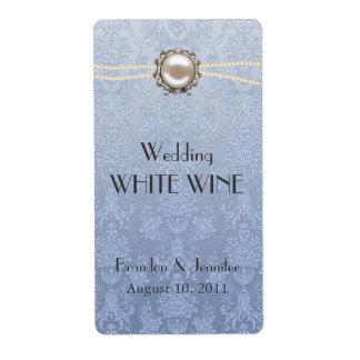 Etiketten van de Wijn van het damast en van het Verzendlabel