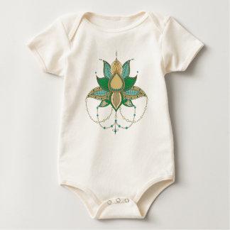 Etnisch mandalaornament van de bloemlotusbloem baby shirt