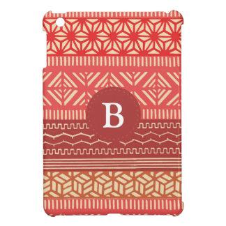 Etnisch Stammen Geometrisch (Rood) Monogram Girly iPad Mini Hoesje