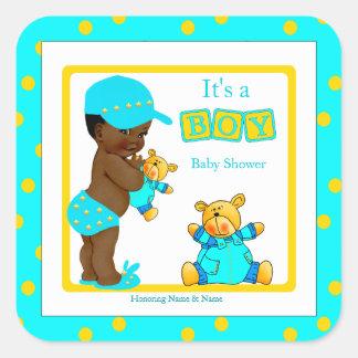 Etnische Beer van het Baby shower van de jongen Vierkant Stickers