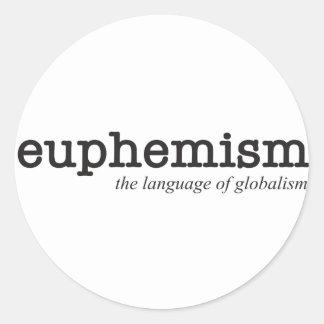 Eufemisme.  De taal van globalisme Ronde Sticker