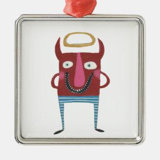 Eugene de Kleine Duivel Zilverkleurig Vierkant Ornament
