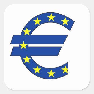 euro het geldteken van het muntsymbool vierkante sticker