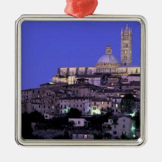 Europa, Italië, Toscanië, Siena. 13de C. Duomo en Zilverkleurig Vierkant Ornament